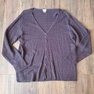 Eileen Fisher Plus Size Purple Linen Cardigan